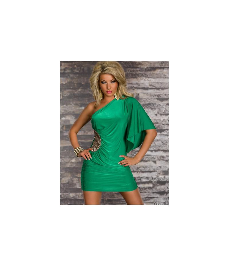 kleid one shoulder gr n all dresses. Black Bedroom Furniture Sets. Home Design Ideas