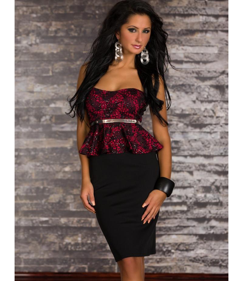 kleid evita spitze schwarz rot all dresses. Black Bedroom Furniture Sets. Home Design Ideas