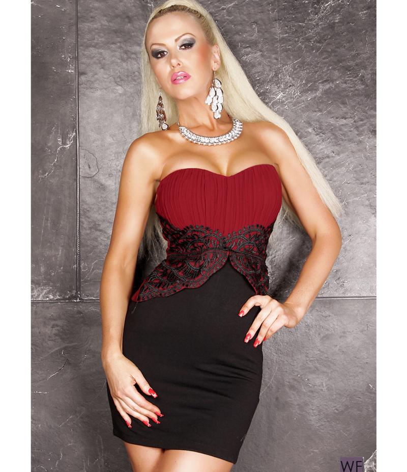 kleid no label spitze weinrot schwarz all dresses. Black Bedroom Furniture Sets. Home Design Ideas