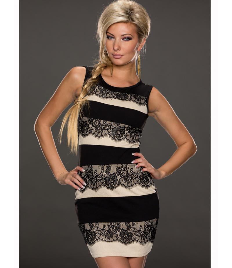 Kleid Best Emilie - Spitze - Schwarz/Creme All Dresses