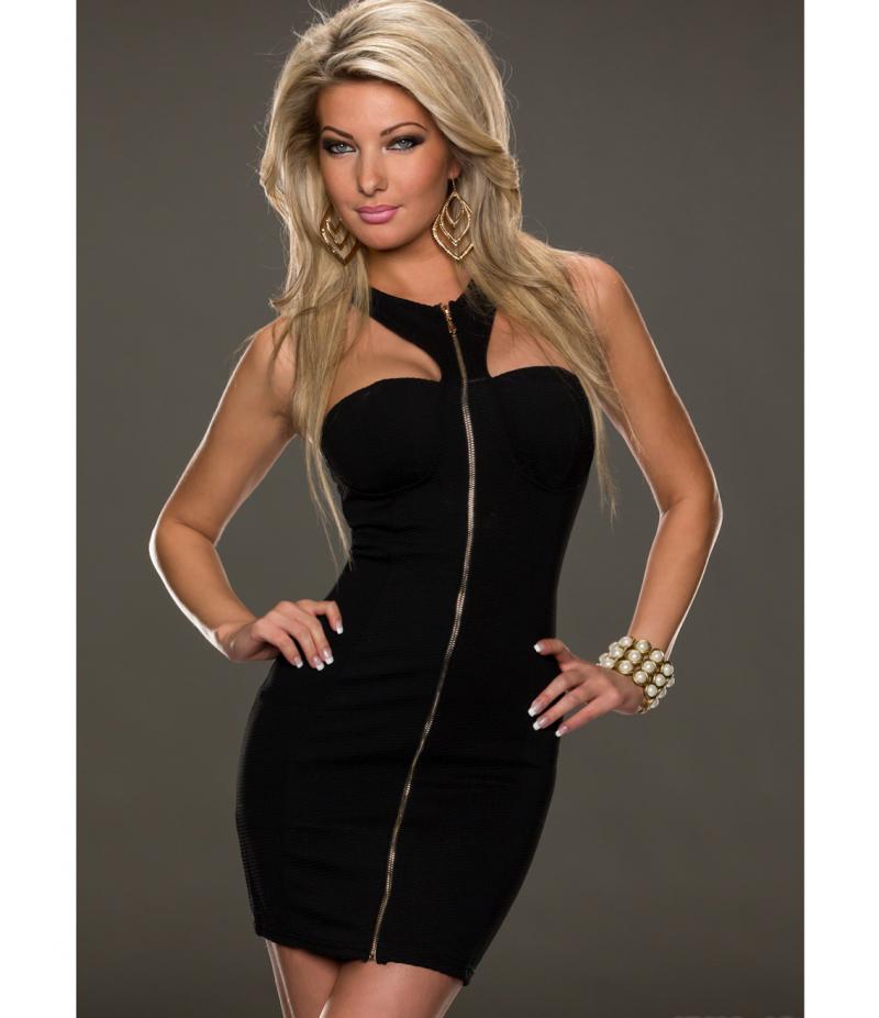 kleid luc ce zipper weiss all dresses. Black Bedroom Furniture Sets. Home Design Ideas