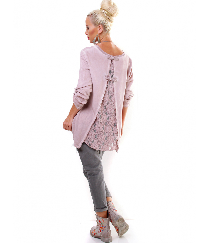 828996ed47a7 Bluse Fashion - Spitze - Rosa Blusen