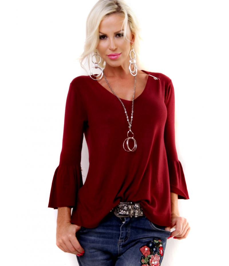 pullover s trompeten rmel rosa sweaters. Black Bedroom Furniture Sets. Home Design Ideas