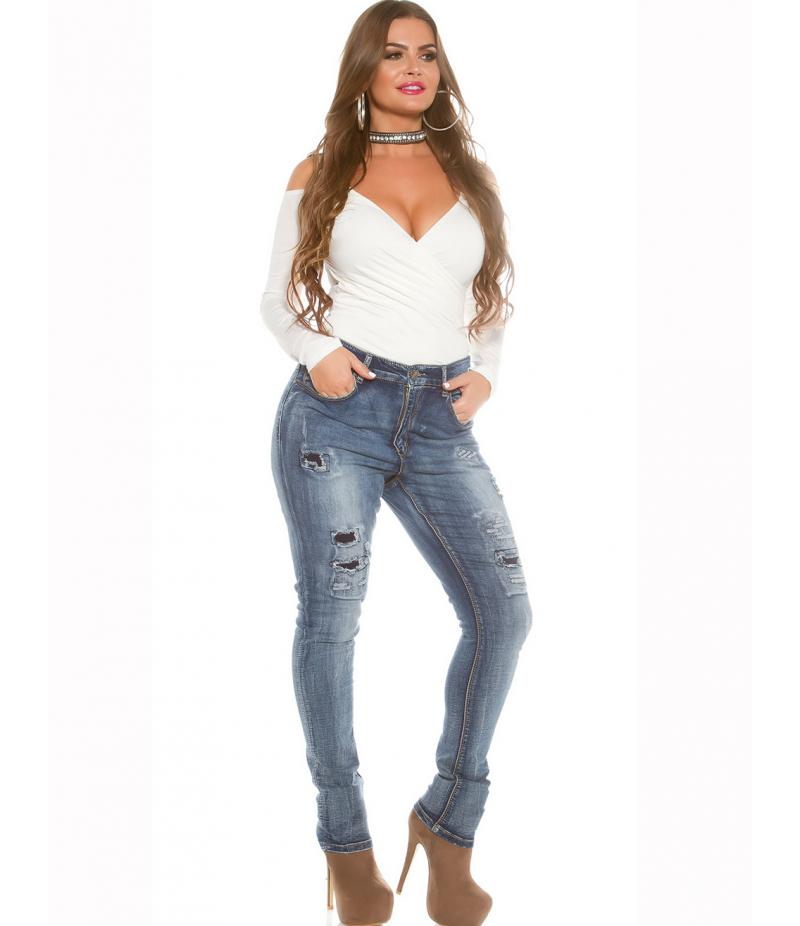 jeans rose player destroyed look blau jeans. Black Bedroom Furniture Sets. Home Design Ideas